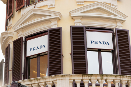 prada: Rome, Italy - October 14, 2016: Prada name of street shop window of Rome.