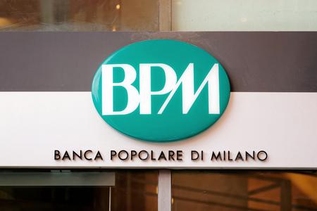 milánó: Rome, Italy - October 14, 2016: Entrance Plate at the Local branch of Italian Bank called Banca Popolare di Milano.