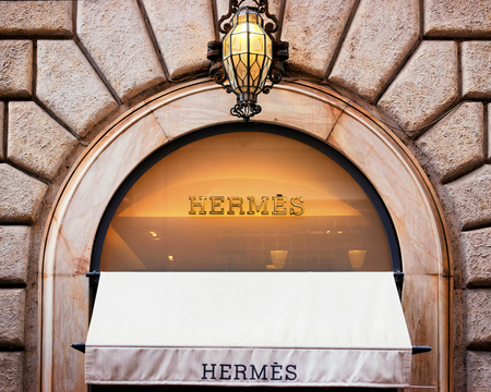 Rome, Italy - October 14, 2016: Hermes Sign of street shop window, Rome. Editorial