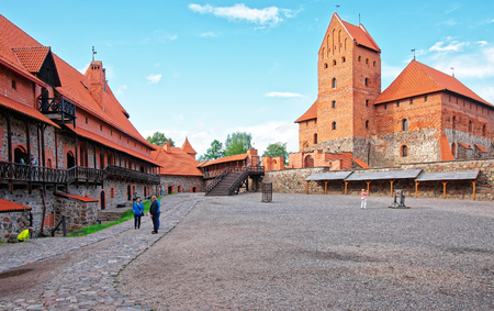 Trakai, Lithuania - June 13, 2014: People in Trakai island castle museum at the day time, near Vilnius, Lithuania, Baltic country
