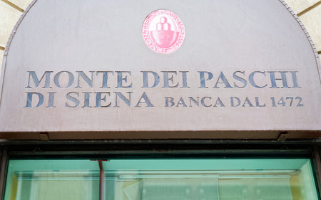 Rome; Italy - October 13; 2016: Entrance Sign at the Local branch of Italian Bank called Monte dei Paschi di Siena Banca dal 1472. Editorial