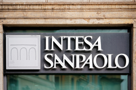 Rome, Italy - October 14, 2016: Entrance Plate of the Local branch of Italian Bank called Intesa Sanpaolo.