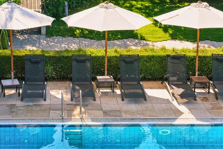 montreux: Sunbeds at swimming pool at Geneva Lake Montreux Swiss Riviera Stock Photo