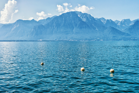 Alps mountains and Geneva Lake of Montreux, Swiss Riviera Stock Photo