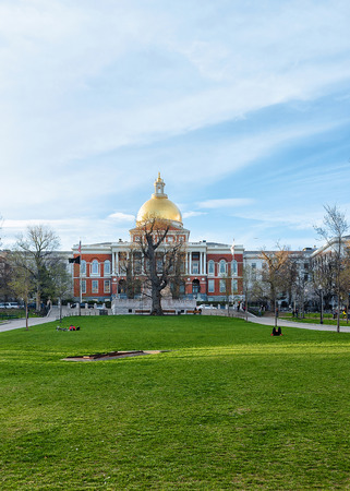 People in Boston Common Park and State Library of Massachusetts, MA, America. Stock Photo