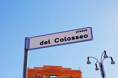 street lamp: Piazza del Colosseo Street Indicator, Rome, Italy Stock Photo