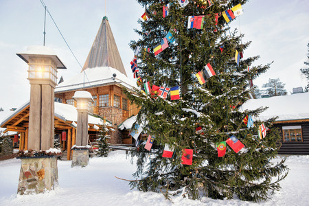 santa claus office in santa village with christmas trees at lapland finland scandinavia