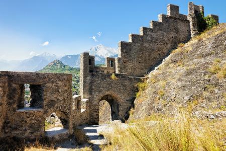 Ruins of Tourbillon castle at Sion, capital of Canton Valais, Switzerland.