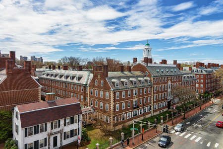 Cambridge, USA - April 29, 2015: Aerial view of F Kennedy Street, Harvard University Area, Cambridge, MA, America Editorial