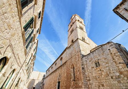 croatian: Belfry in the Old Street in the historical center of Dubrovnik, Croatia