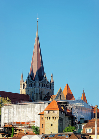 Fragment of Notre Dame Cathedral at Lausanne, Switzerland.
