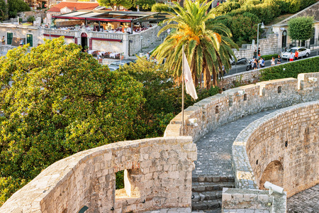ragusa: Dubrovnik, Croatia - August 19, 2016: Old City Wall at Pile gate in Old town Dubrovnik, Croatia. People on the background