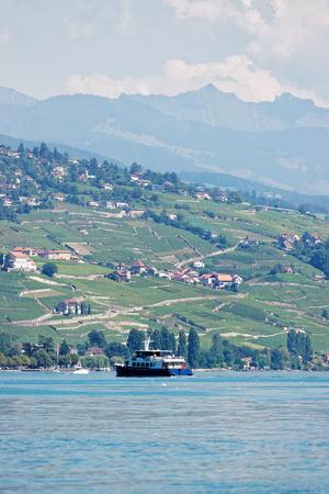 Ferry in Lake Geneva and Lausanne coast, Switzerland.