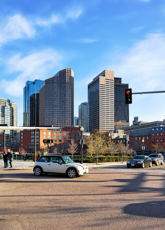 Boston, USA - April 29, 2015: Financial District seen from North End Park at Cross Street at downtown Boston, Massachusetts of America. Editorial