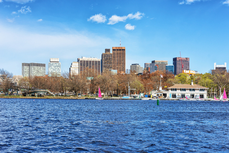 Modern Buildings in North Point Park and Charles River in Cambridge, Massachusetts, America.