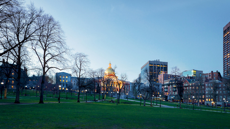 People in Boston Common public park at downtown Boston, MA, America