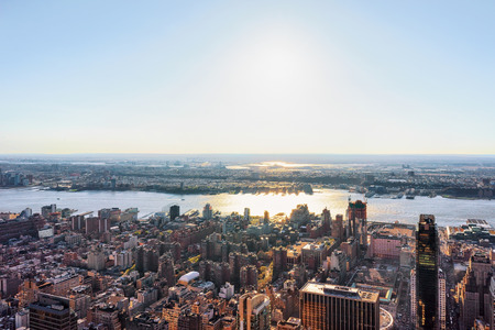 Aerial view on Manhattan West, New York and New Jersey, America. Hudson River on the background
