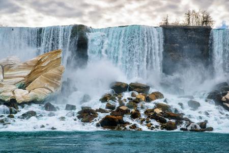 Niagara Falls. A view on American Falls and Bridal Veil Falls. At American Early spring