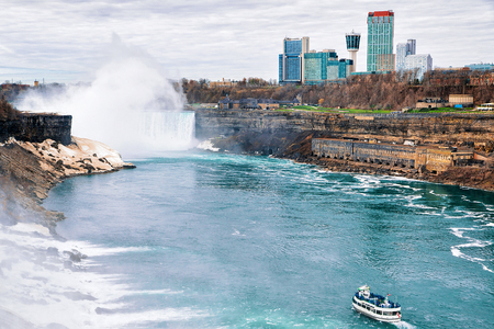 Ship and Niagara Falls, America side
