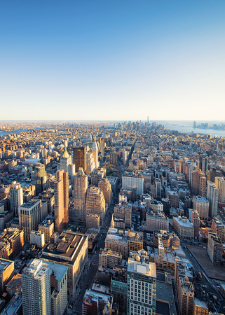 Aerial view on Skyline with Skyscrapers in Downtown Manhattan and Lower Manhattan, New York City, America.