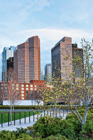 Financial District at North End Park at Cross Street at downtown Boston, Massachusetts, America. Stock Photo