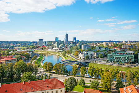 Financial district with skyscrapers in Vilnius, Lithuania, Baltic country.