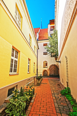 central european: Backyard in the historical center in the old town of Riga, Latvia, Baltic country.