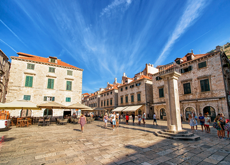 ragusa: Dubrovnik, Croatia - August 20, 2016: People on the Square at Stradun Street in the Old city of Dubrovnik, Croatia.