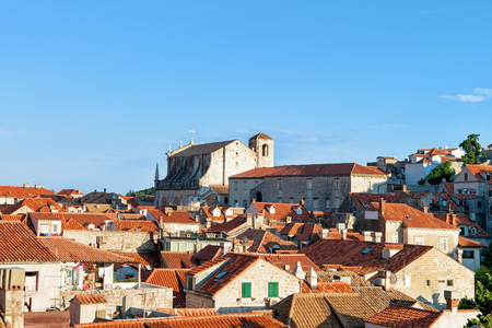 ragusa: Panorama of the Old town of Dubrovnik with red roof tile, Croatia