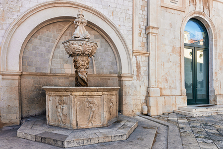 Small Onofrio fountain in the Old city of Dubrovnik, Croatia