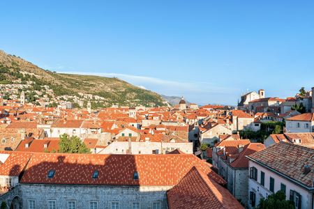 ragusa: Panorama of the Old city Dubrovnik with red roof tile, Croatia