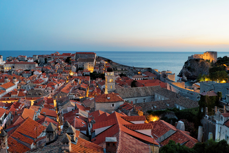 ragusa: Fort Lovrijenac and Adriatic sea at Dubrovnik, Croatia in the evening