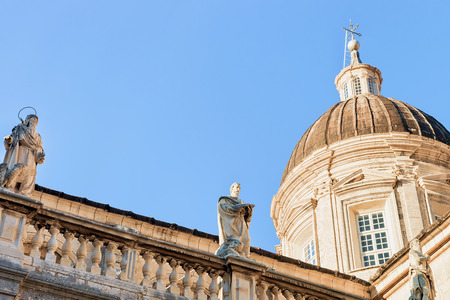 ragusa: Dome of Dubrovnik Cathedral  and religious saints in the Old city of Dubrovnik, Croatia