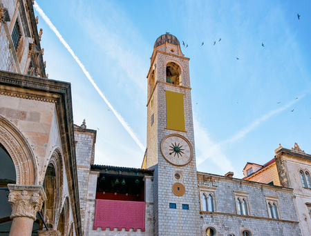 Belfry in Stradun Street in the Old town in Dubrovnik, Croatia