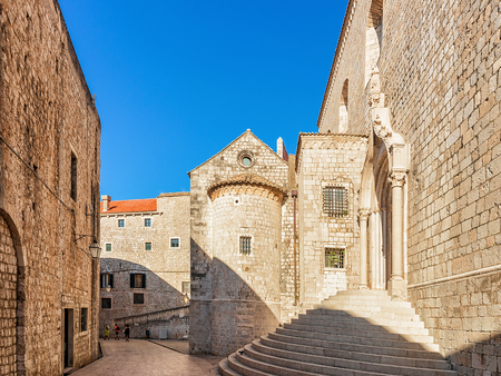 Circular steps of the Dominican Monastery in the Old town of Dubrovnik, Croatia Stock Photo