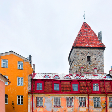 City roofs and defensive towers of the Old town of Tallinn, Estonia in winter Stock Photo