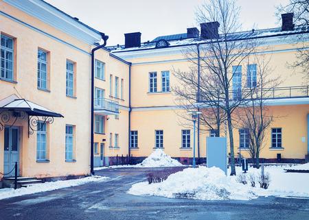 Back yard of University of Helsinki in the center of Helsinki, Finland in winter. Redakční
