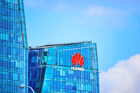 Vilnius, Lithuania - August 8, 2017: Huawei Technologies company headquarter at the modern office building skyscraper in the business district of Vilnius, Lithuania. Redakční