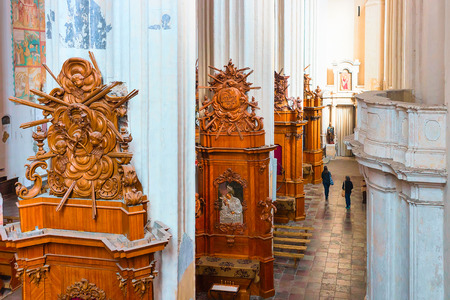 Vilnius, Lithuania - April 1, 2017: Interior of Church of Saint Francis and Saint Bernard in the Old city of Vilnius, Lithuania.