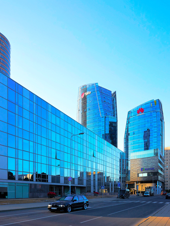Vilnius, Lithuania - August 8, 2017: Huawei Technologies and Telia company headquarter in the modern office building skyscraper in the business district on Europe Square in Vilnius, Lithuania. Editorial