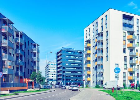 Vilnius, Lithuania - July 31, 2017: Complex of new apartment residential buildings