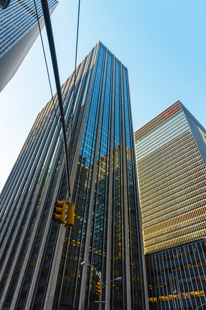 New York, USA - May 6, 2015: Bottom up view of Time-Life Building and traffic lights in Midtown Manhattan, New York, NYC, USA Editorial