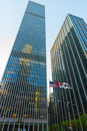 New York, USA - May 6, 2015: Bottom up view of Exxon Building and Time-Life Building in Midtown Manhattan, New York, NYC, USA Editorial