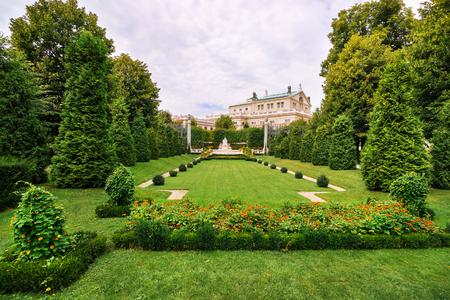 Vienna, Austria - August 21, 2012: Volksgarten public park or People Garden with Empress Elizabeth Monument of Hofburg Palace, Vienna in Austria.
