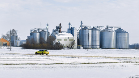 Stock Photo   Storage Tankers At Winter Countryside In Lapland, Finland