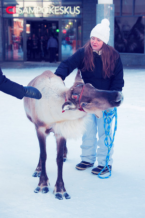 Rovaniemi, Finland - March 4, 2017: Woman stroking reindeer in the street of winter Rovaniemi, Finland.