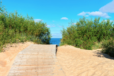 Footpath at the sand dune at the Baltic Sea in Palanga resort, Lithuania Stock Photo