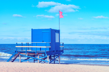Life guard at the Baltic Sea in Palanga resort, Lithuania