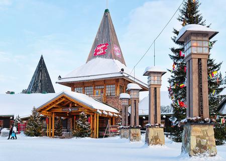 Rovaniemi, Finland - March 5, 2017: Arctic Circle lanterns in Santa Office at Santa Village Lapland, Rovaniemi, Lapland, Finland, on Arctic Circle in winter.