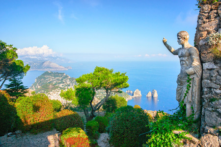 Statue and gardens on Capri Island in Tyrrhenian Sea, Italy Stock Photo